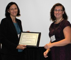 2015 Irene Ledesma Prize recipient Meggan Bilotte (on right) with Prize Committee Chair Sarah Janda at the 2015 CWWH Breakfast in Portland. Bilotte is a Ph.D. Candidate in History at the University of Wisconsin-Madison.
